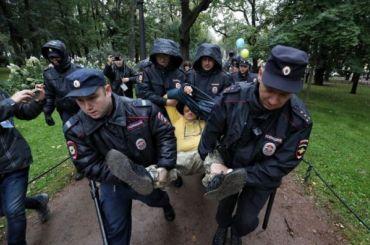 Полицейские задержали троих после «Марша мира» вПетербурге
