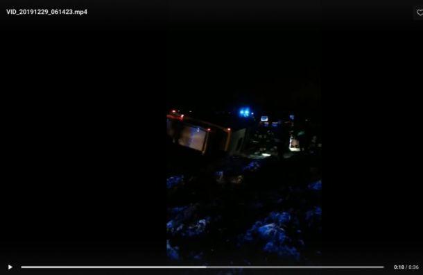 Автобус спетербуржцами перевернулся вЭстонии