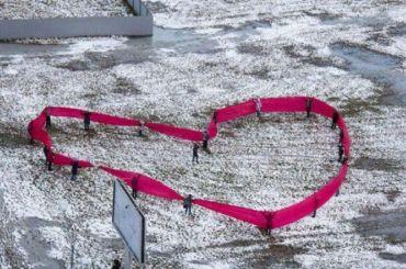 Защитники Муринского парка выстроились вформе сердца