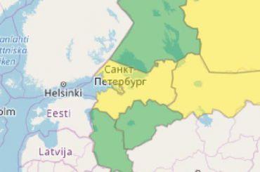Специалисты объявили желтый уровень погодной опасности вПетербурге