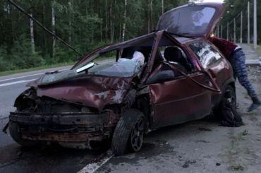Opel врезался встолб наПриморском шоссе, пострадали два человека