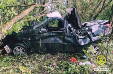 Chevrolet вылетел вкювет под Гатчиной, погиб пассажир