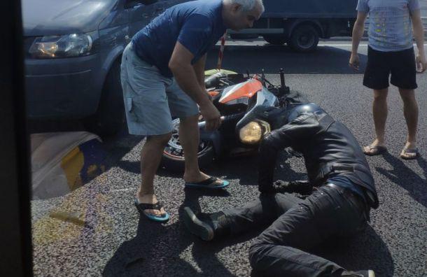 Наремонтируемом участке КАД разбился мотоциклист