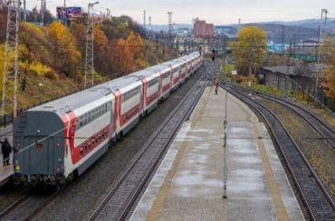 ВПетербург направляется двухэтажный пассажирский поезд