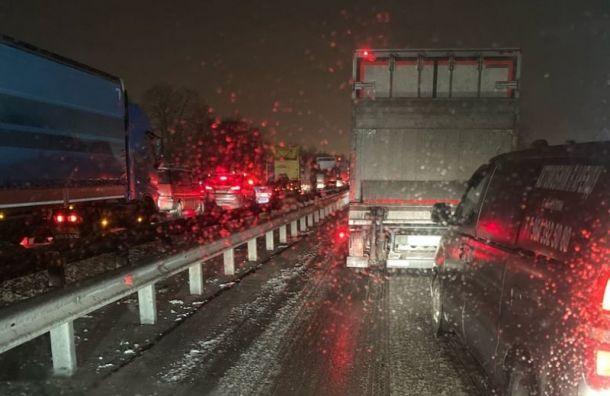 Массовое ДТП спровоцировало гигантскую пробку наМосковском шоссе