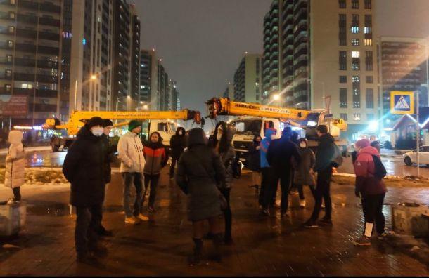 Жители города Мурино протестуют против застройки бульвара Менделеева ларьками