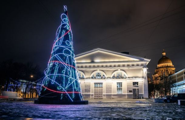 Петербургским медикам посвятили инсталляцию— ель изнеоновых нитей
