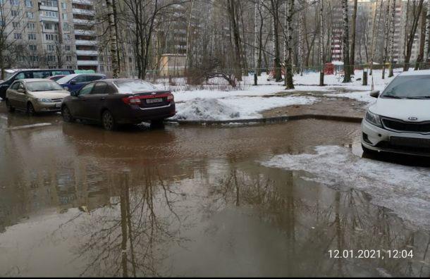 Один издворов поулице Академика Байкова затопило «бурой жидкостью»