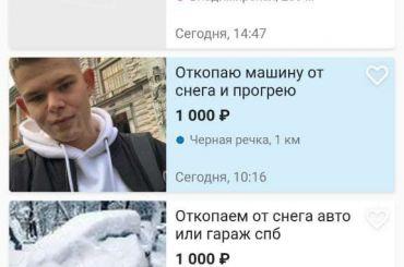 Петербуржцы предлагают на«Авито» услуги пооткапыванию автомобилей изснега