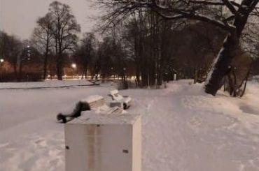 Скультура советской девушки свеслом исчезла сКрестовского острова