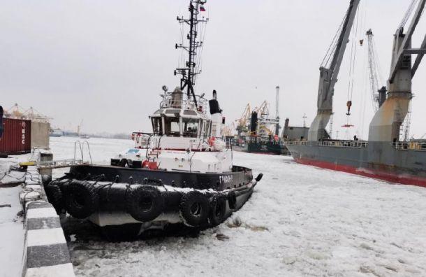 Буксир итеплоход столкнулись вморском порту Петербурга