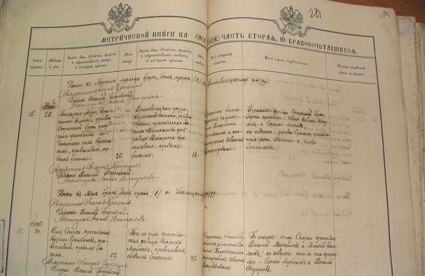 Вгосархив Петербурга передадут 197 метрических книг