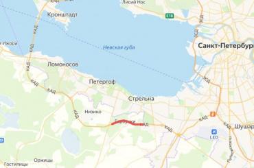 Перекрыты две полосы наКАД между Красносельским иРопшинским шоссе