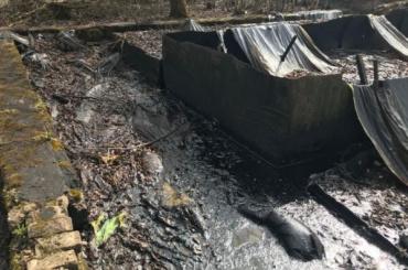 Заброшенное нефтехранилище вПарголово «протекает» вручей
