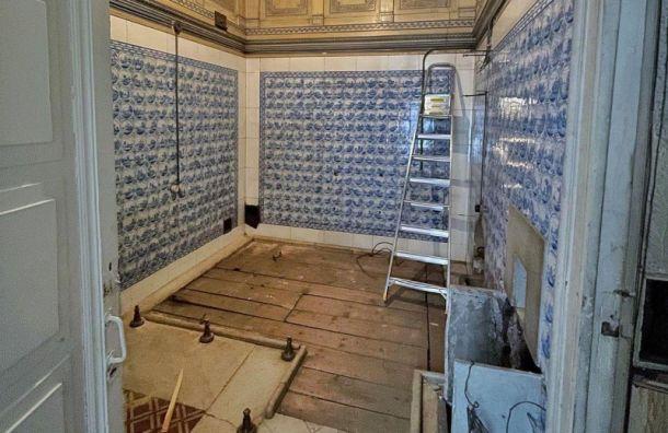 Петербургские активисты отмыли мраморный бассейн вкняжеской резиденции