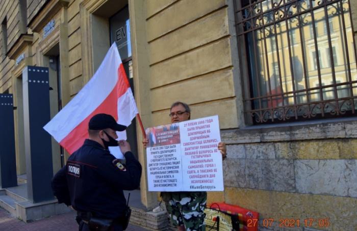 Активист задержан заодиночный пикет вподдержку Белоруссии