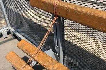 Городские службы отремонтировали скамейку, перевязав ееверевкой