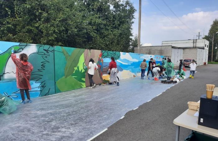 Художники-волонтеры нарисовали граффити натерритории дома-интерната