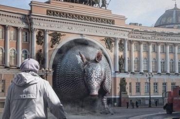 Петербуржец изобразил броненосца, застрявшего варке Главного штаба